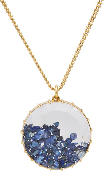 renee lewis sapphire gold shake pendant necklace in blue