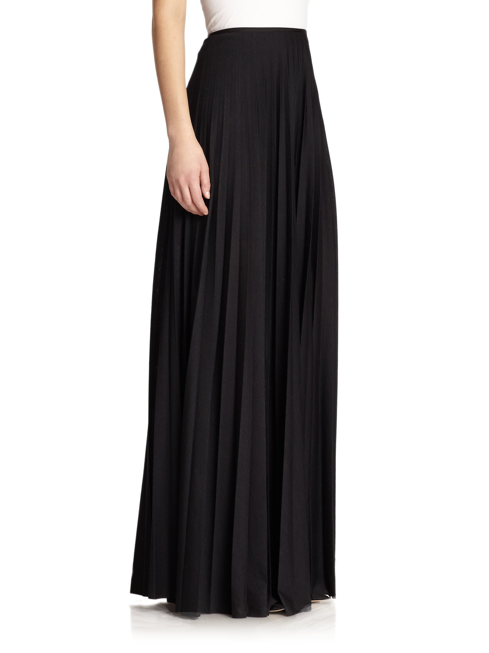 theory miklo pleated maxi skirt in black lyst