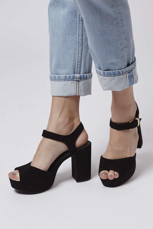 Lyst - TOPSHOP Limbo Chunky Platform Sandals in Black