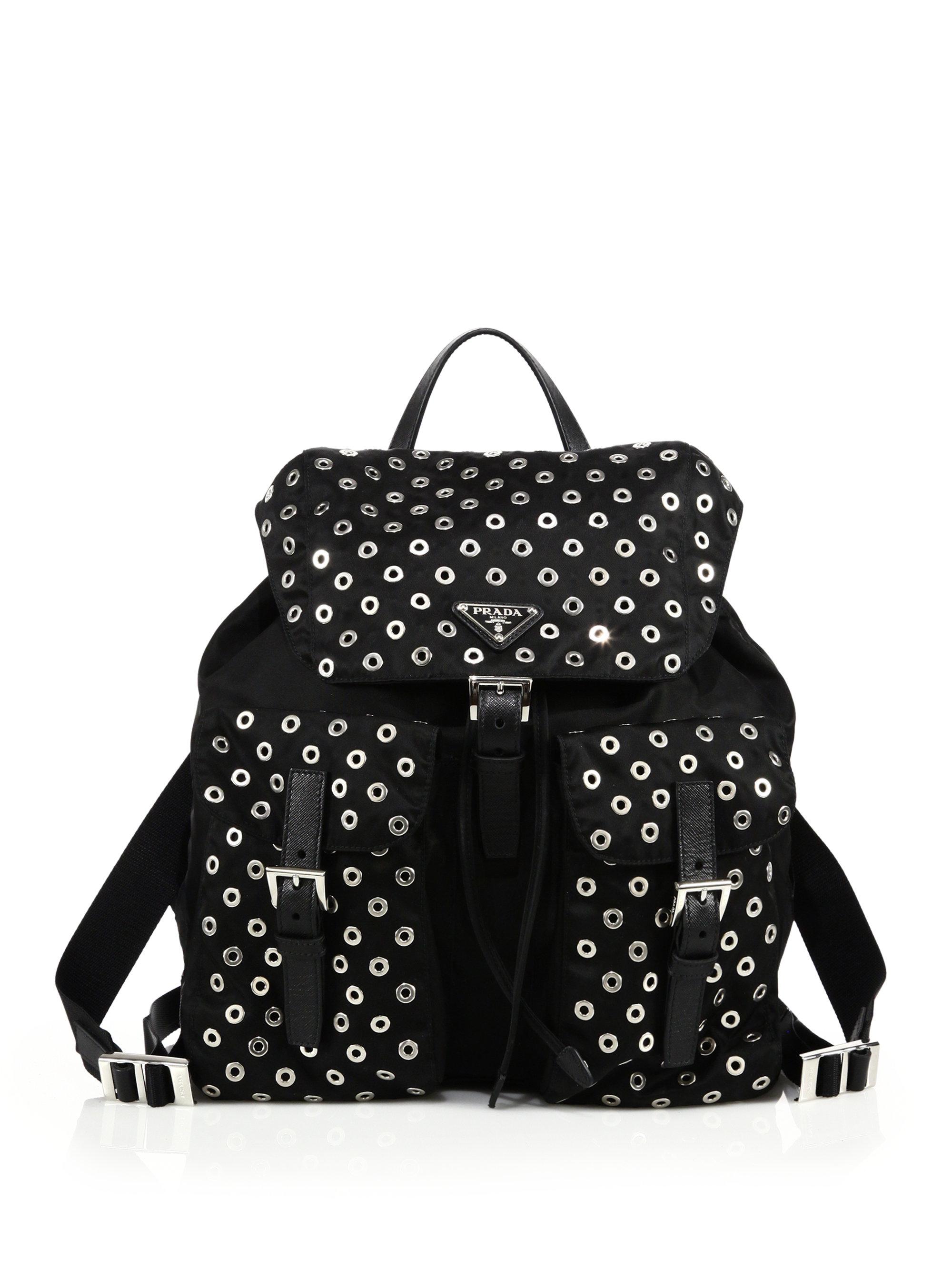202a116dbc3b ... spain lyst prada grommeted nylon backpack in black d9b99 645cc
