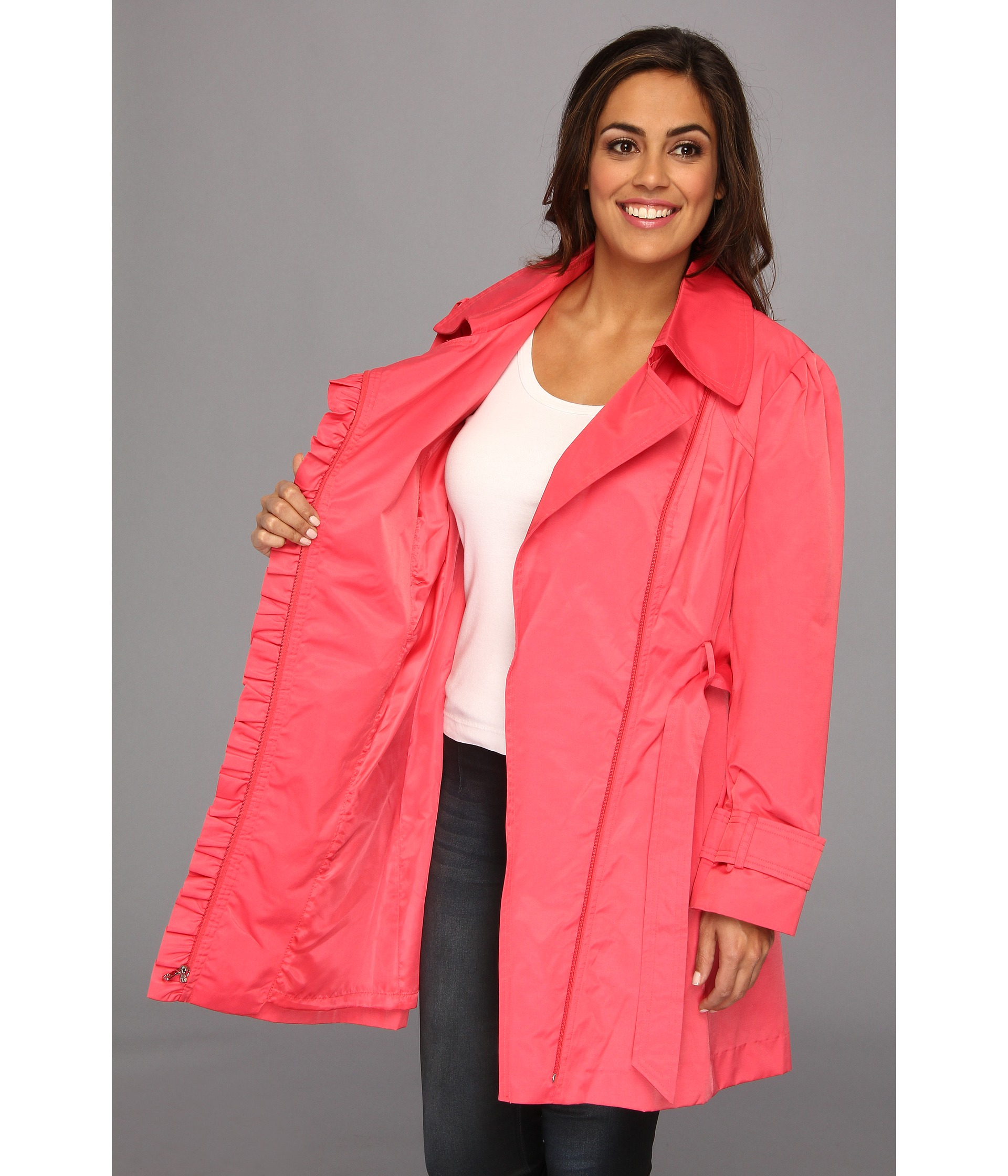 56124987f07 Lyst - Jessica Simpson Plus Size Ruffle Trim Belted Trench Coat in ...