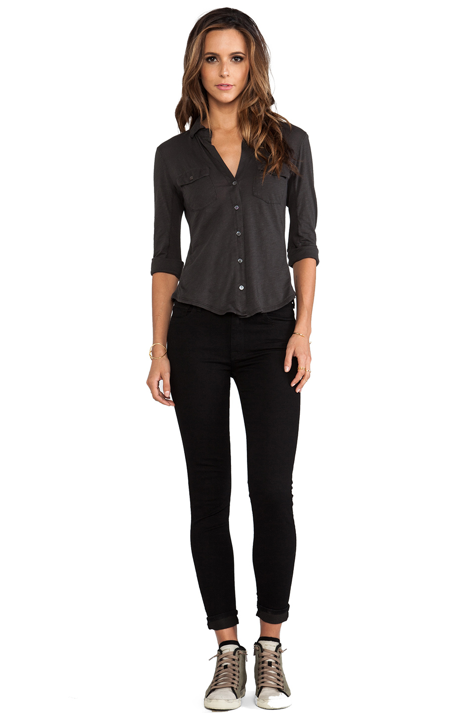 8ea39841a Lyst - James Perse Contrast Panel Shirt in Black
