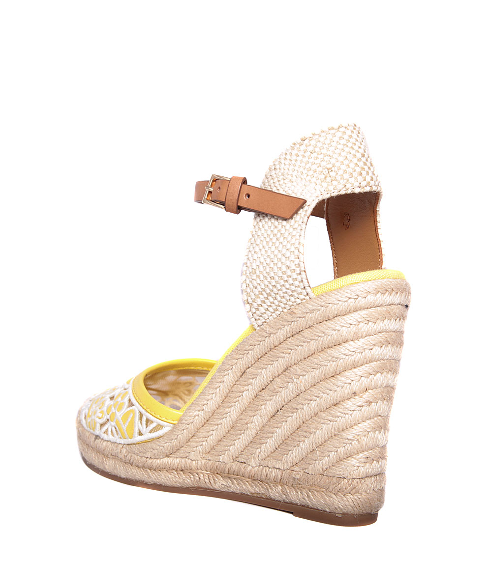 3515d55a6ebe Tory Burch Lucia Lace Espadrilles With Wedge in Yellow - Lyst