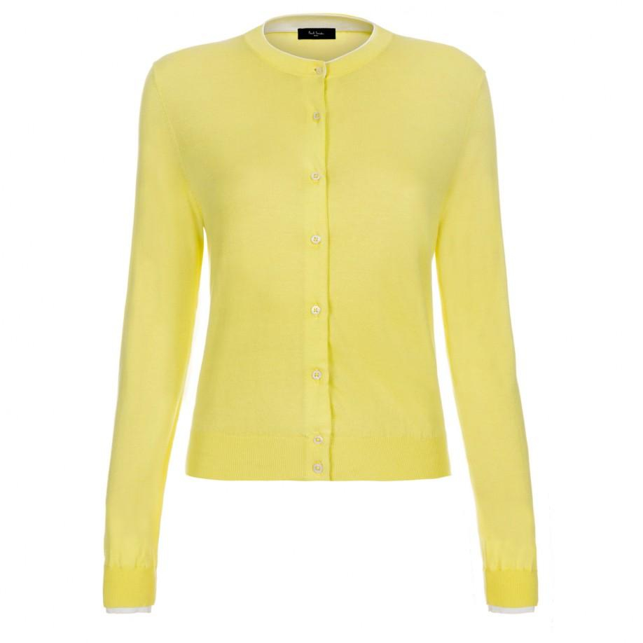 Paul smith Women'S Yellow Knitted Cotton Cardigan With White Trims ...