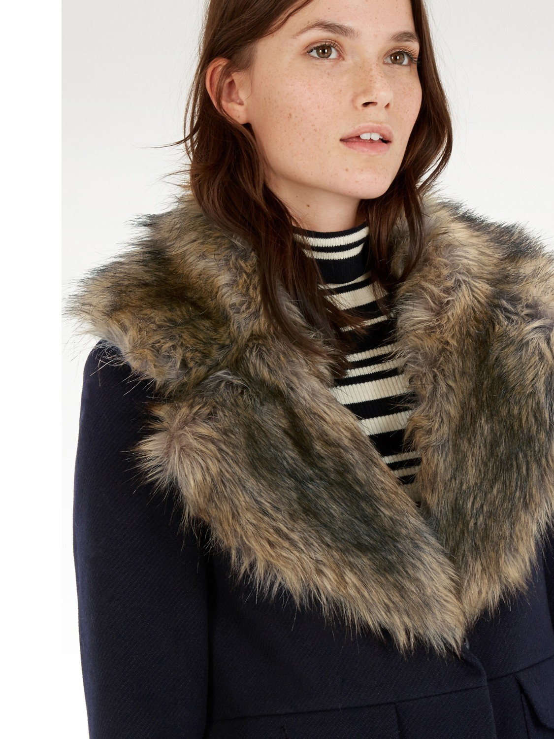 Warehouse Extreme Faux Fur Collar Coat in Blue | Lyst