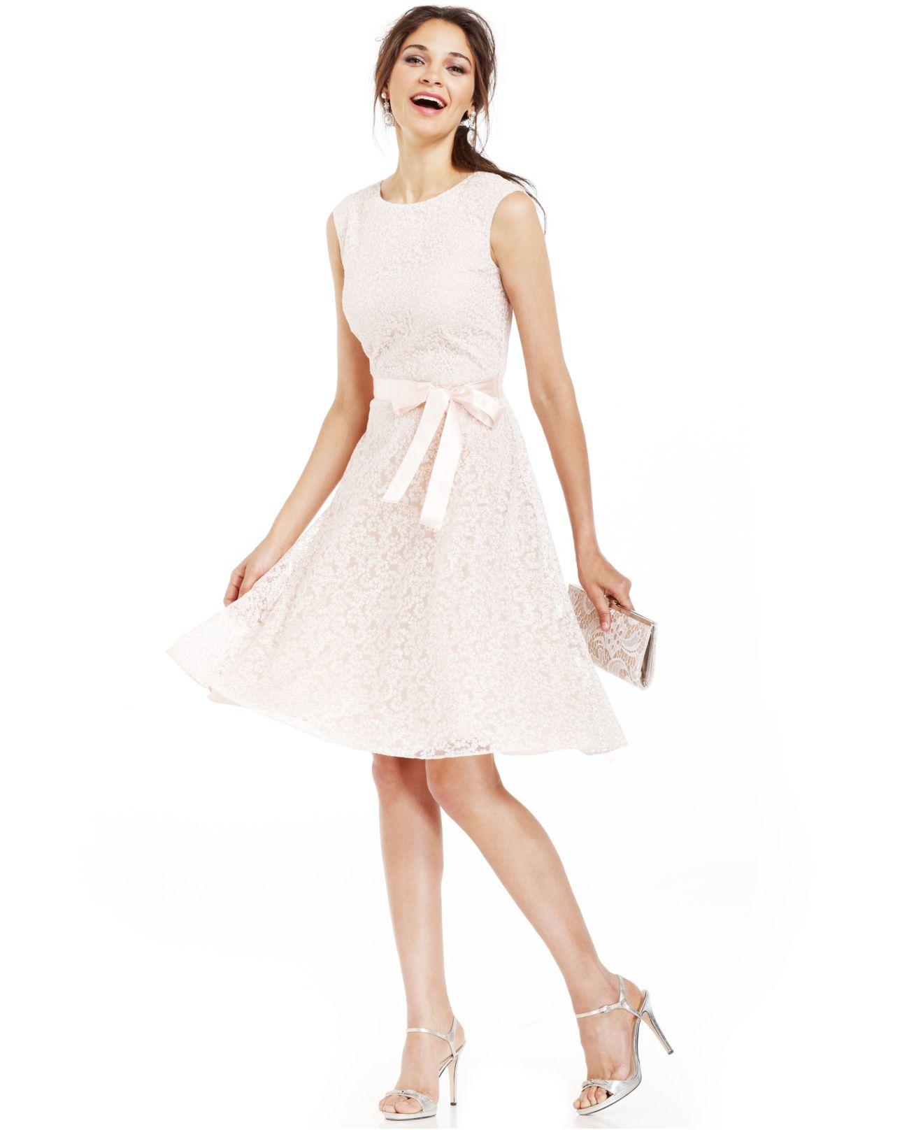 Tahari Tahari By Asl Glitter Lace Belted Dress in Natural | Lyst