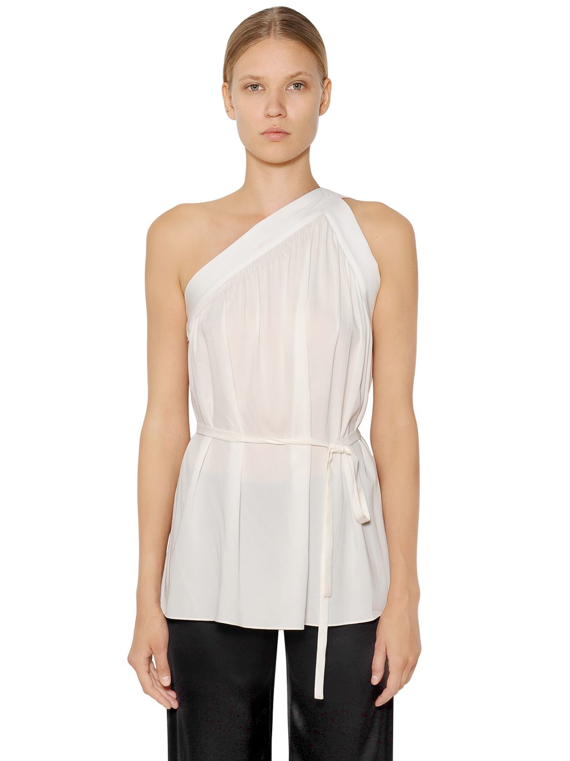 helmut lang one shoulder stretch silk crepe top in white lyst. Black Bedroom Furniture Sets. Home Design Ideas