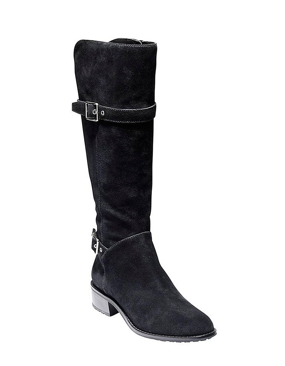 cole haan indiana waterproof suede boots in black lyst