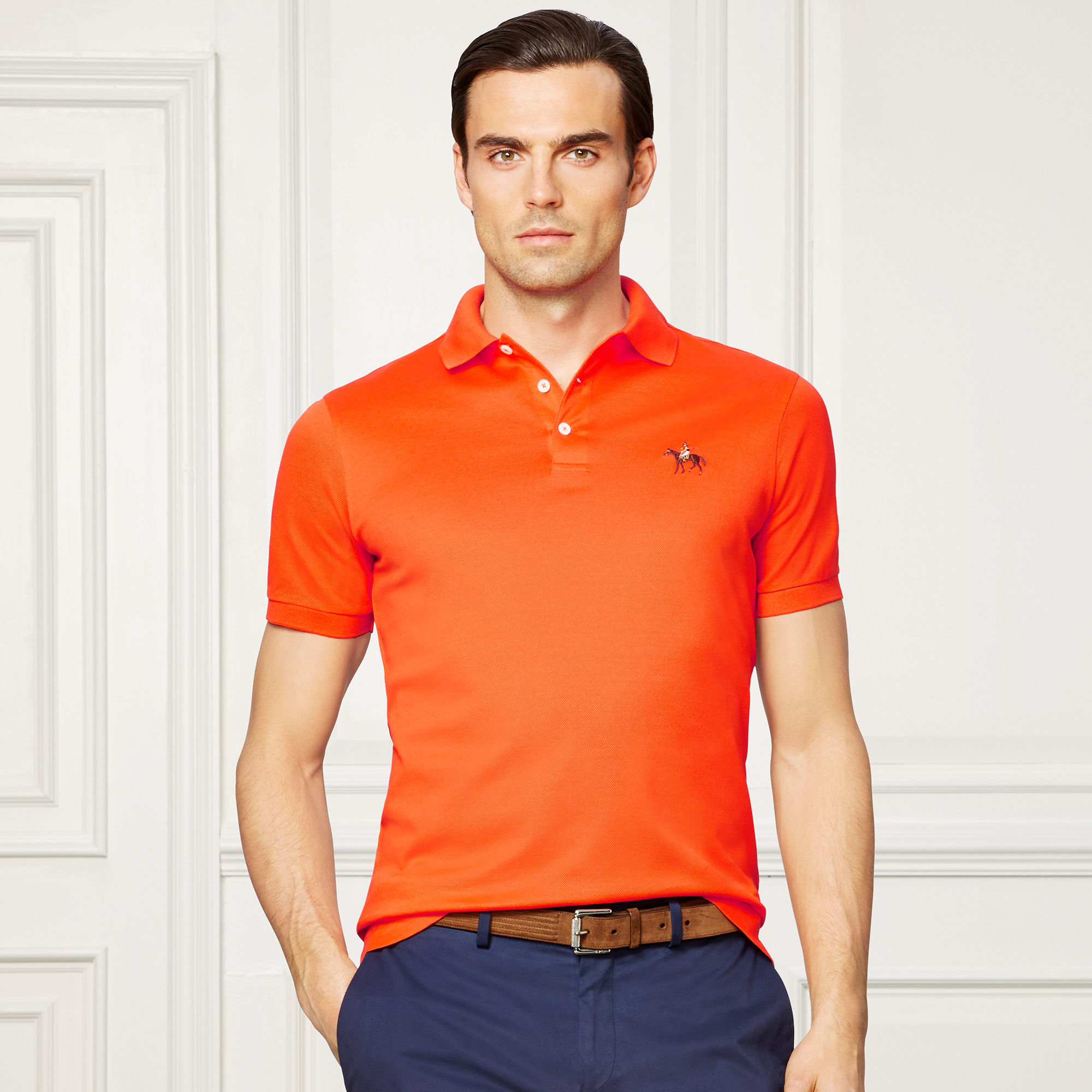 Lyst - Ralph Lauren Purple Label Custom-fit Piqué Polo Shirt in Orange for Men