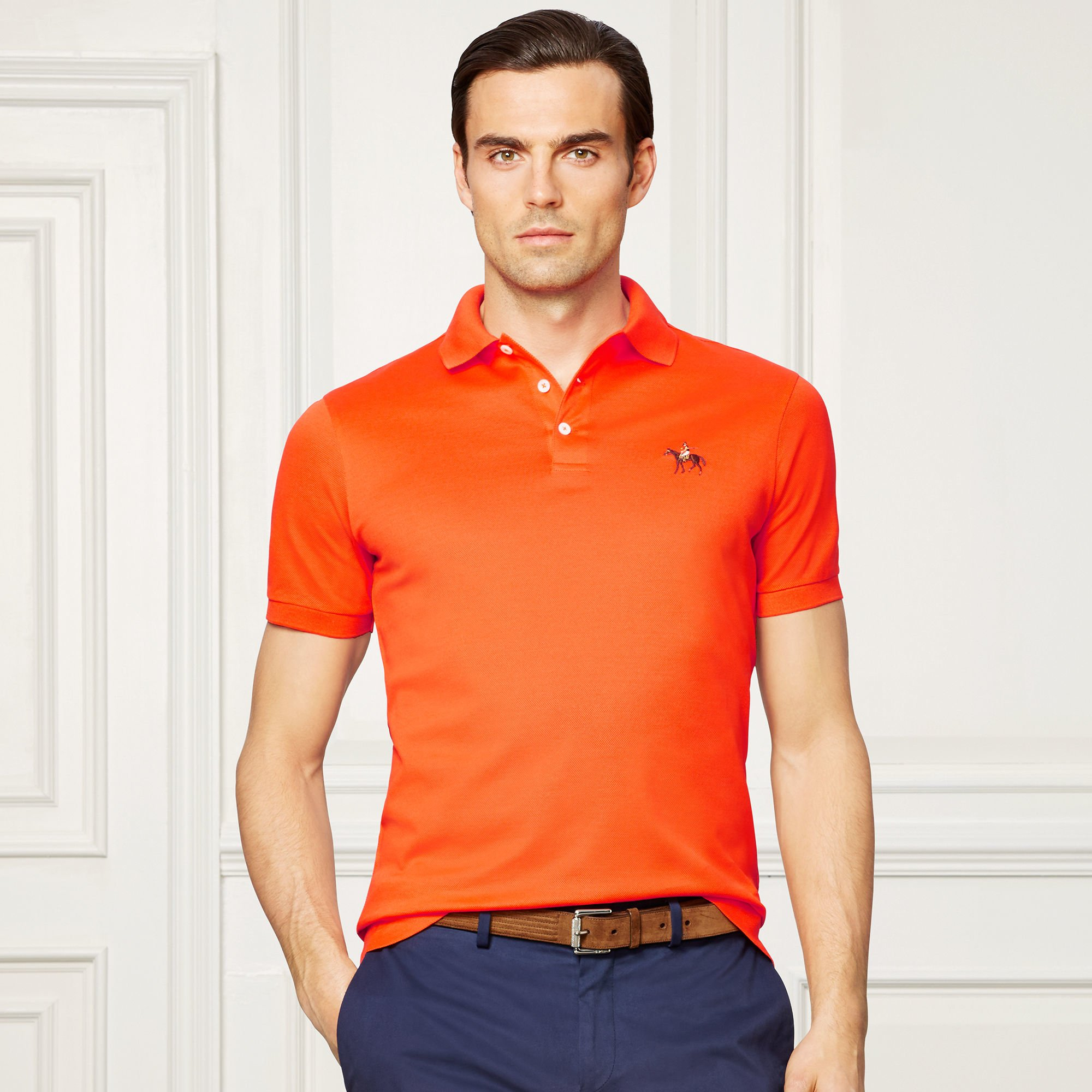 Lyst ralph lauren purple label custom fit piqu polo for Orange polo shirt mens