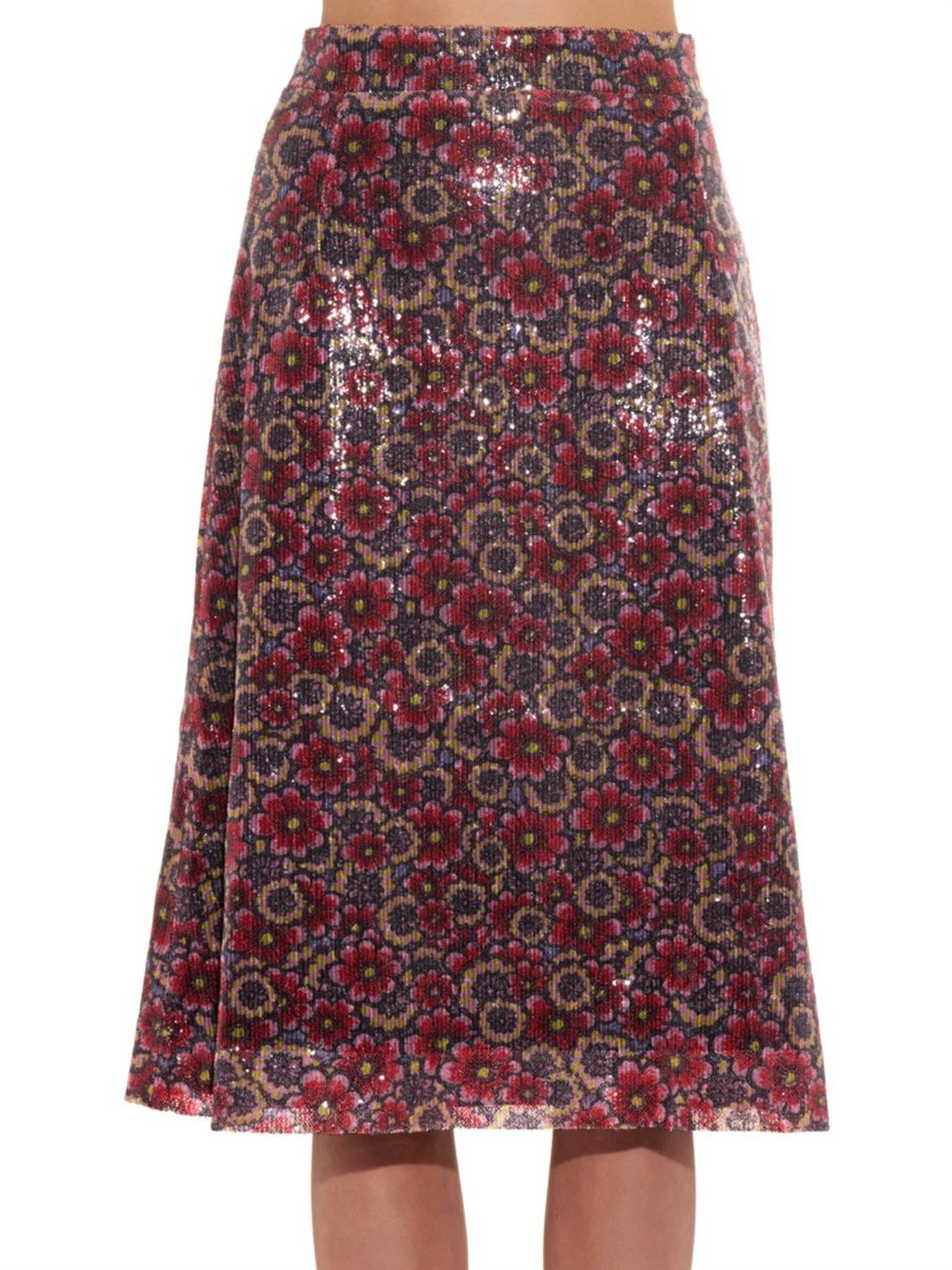 house of sequin floral midi skirt in lyst