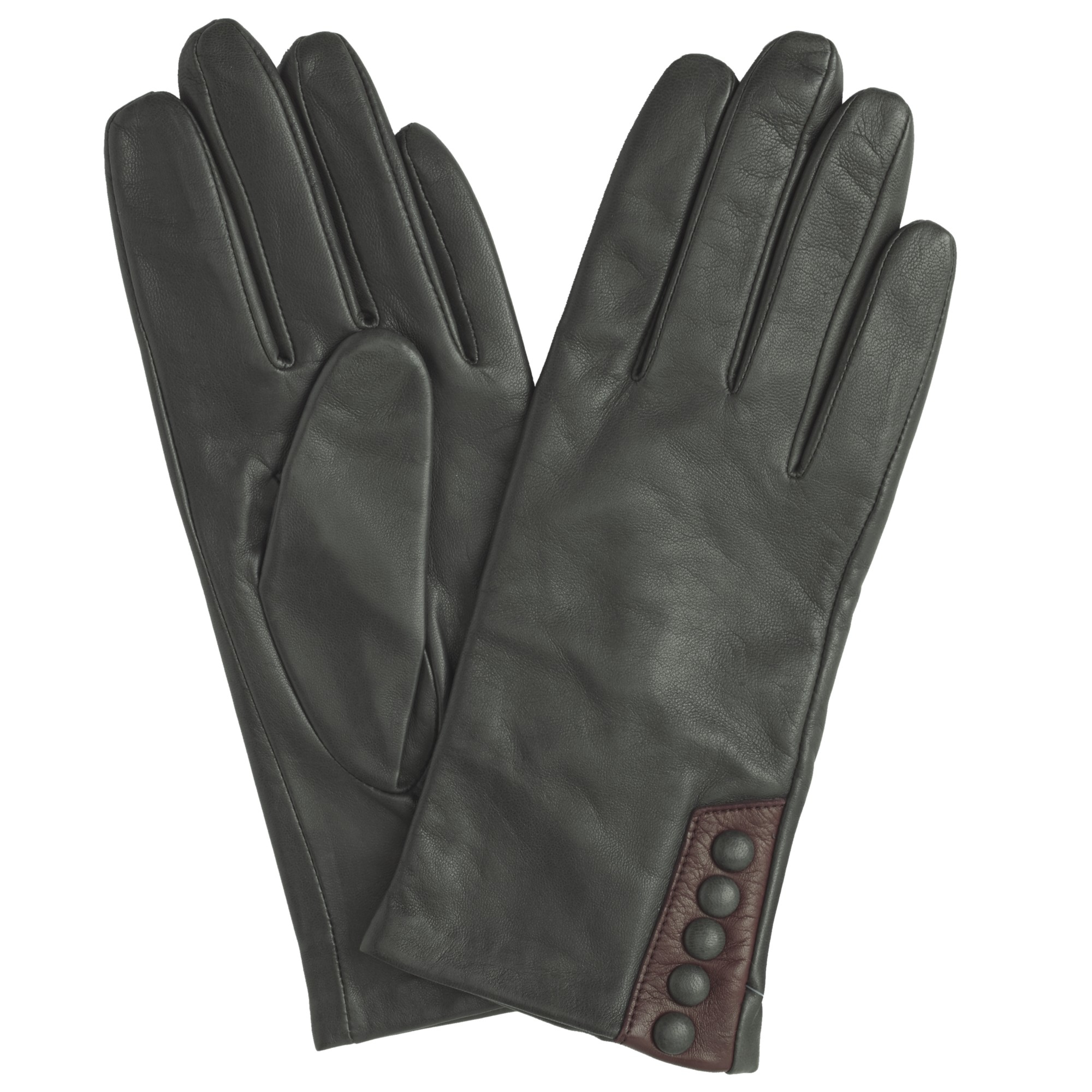 John lewis ladies black leather gloves -