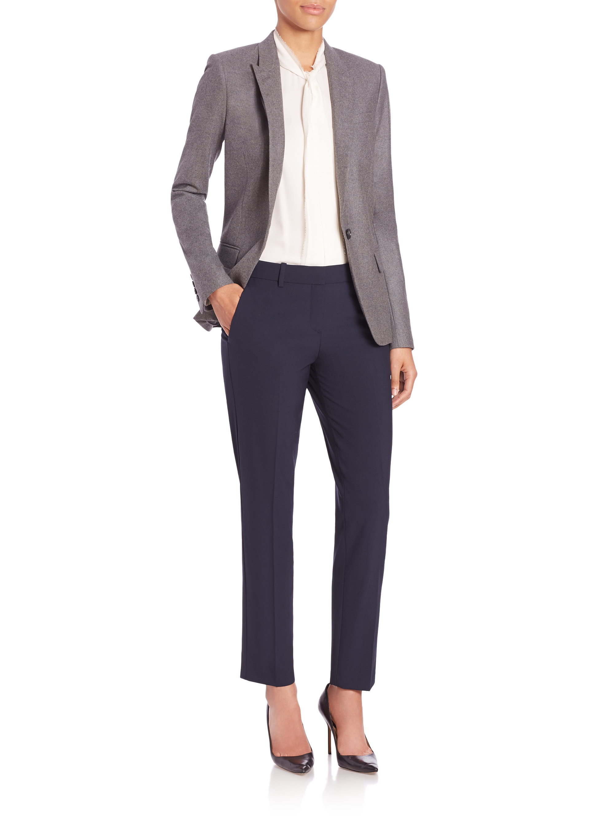 aa424448959 Theory Dief Pure-flannel Blazer in Gray - Lyst