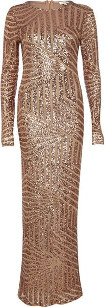 River Island Bronze Embellished Long Sleeve Maxi Dress in Brown