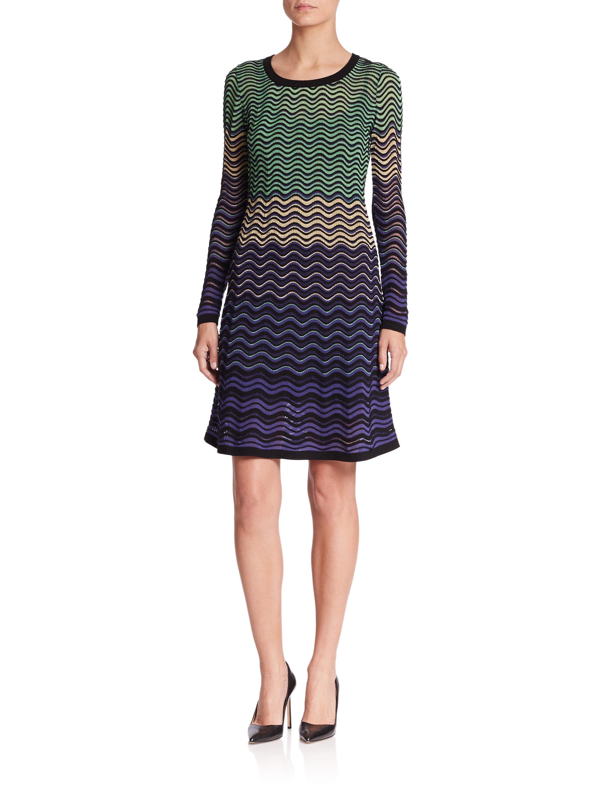 Violet Dress Knitting Pattern : M missoni Metallic Ripple-pattern Knit Dress in Purple Lyst