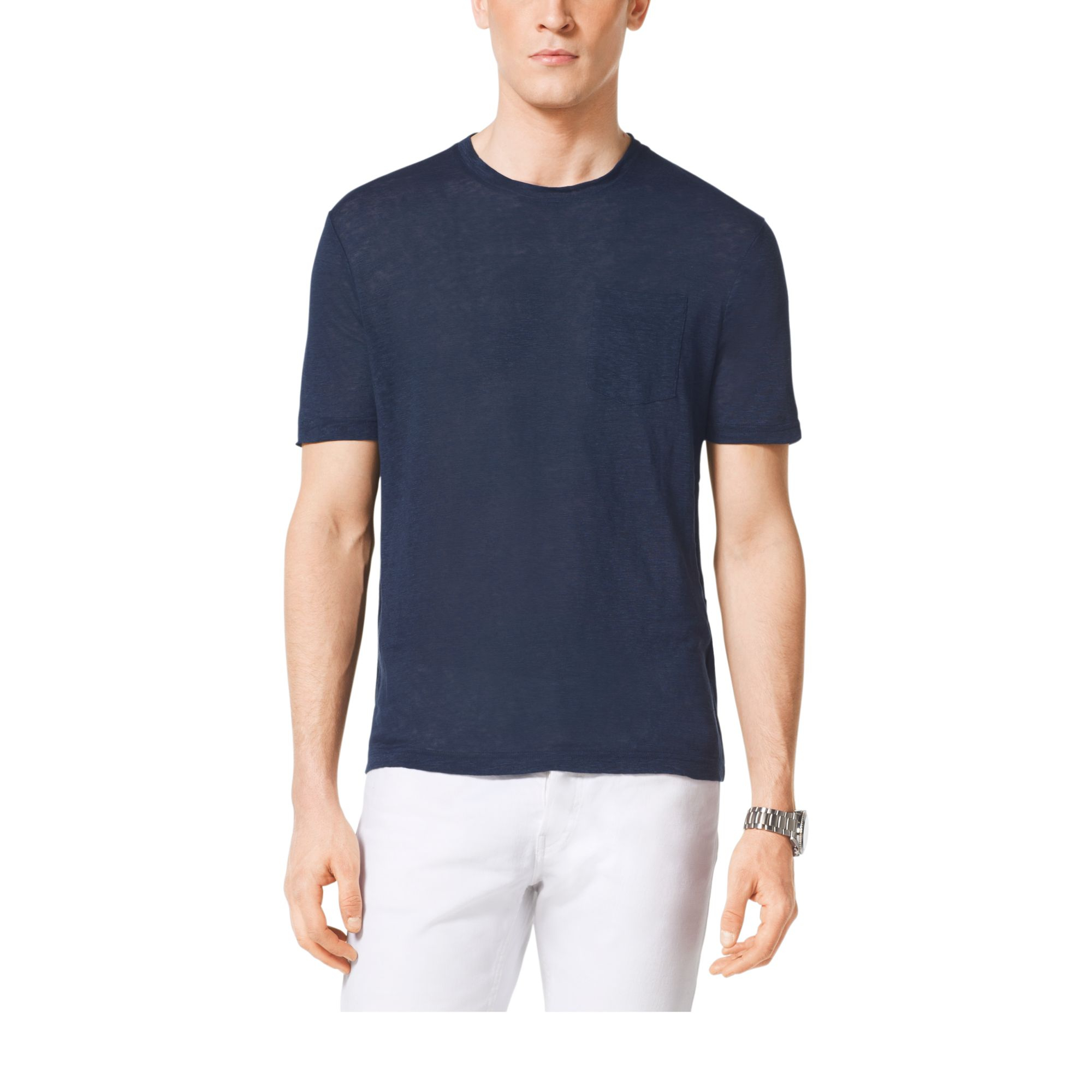 michael kors linen crewneck t shirt in blue for men. Black Bedroom Furniture Sets. Home Design Ideas