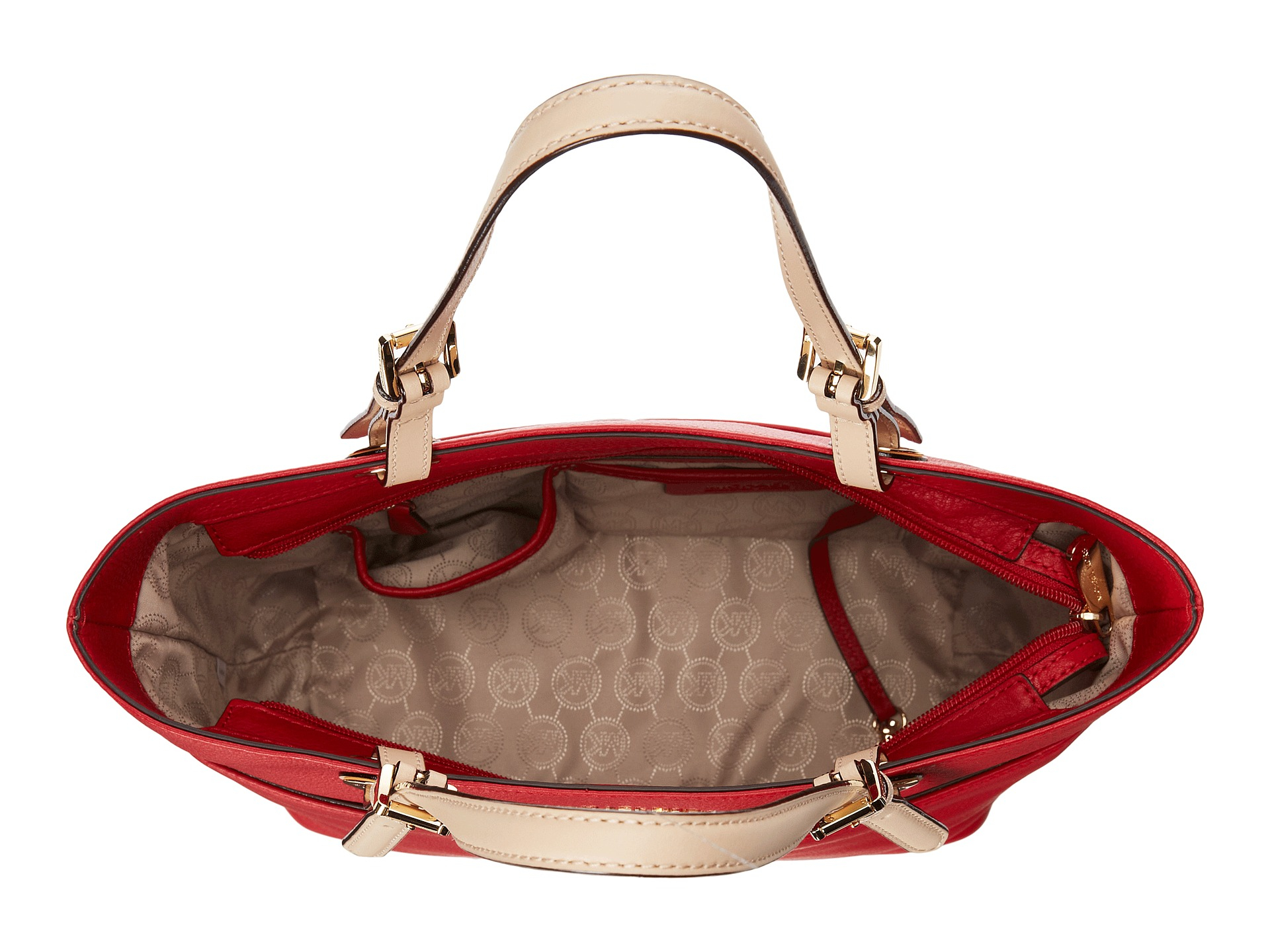 6bf5cc190d15 ... clearance lyst michael michael kors bedford top zip pocket tote in red  e122c 4ec65