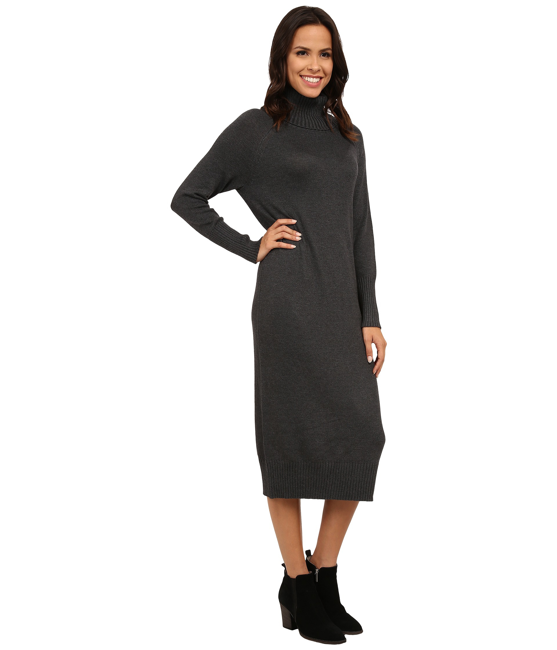 e115150fd60 Vince Camuto Turtleneck Maxi Sweater Dress in Gray - Lyst
