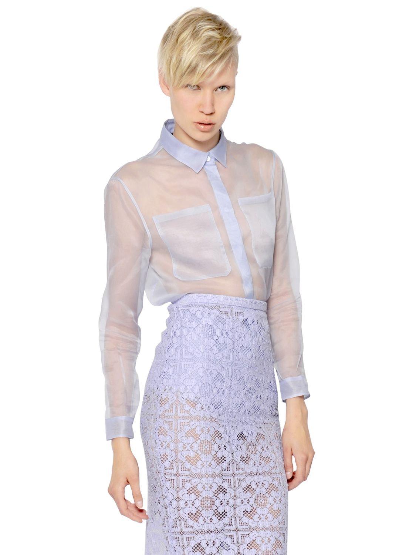 Burberry Prorsum Silk Organza Shirt In Blue Lyst
