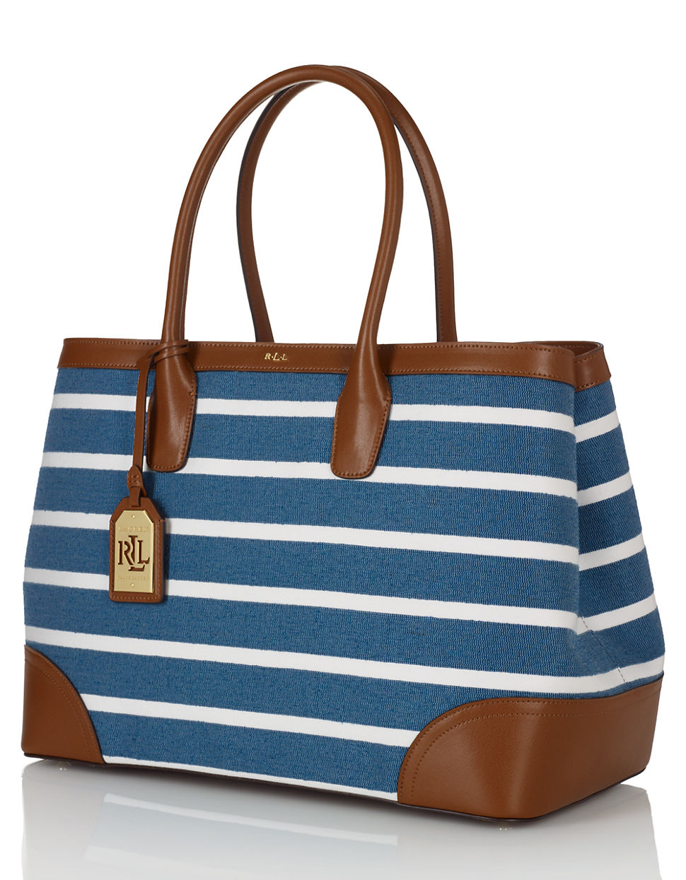 Lauren by ralph lauren City Striped Canvas Tote Bag in Blue   Lyst