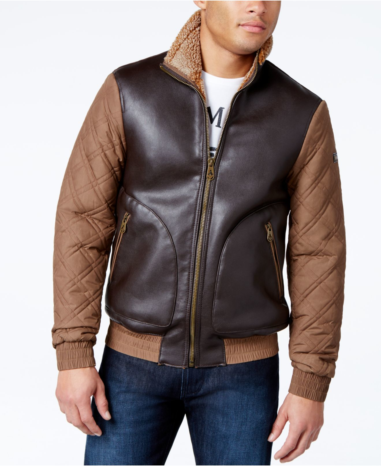 Armani jeans Leather Quilted Fleece Jacket in Brown for Men | Lyst