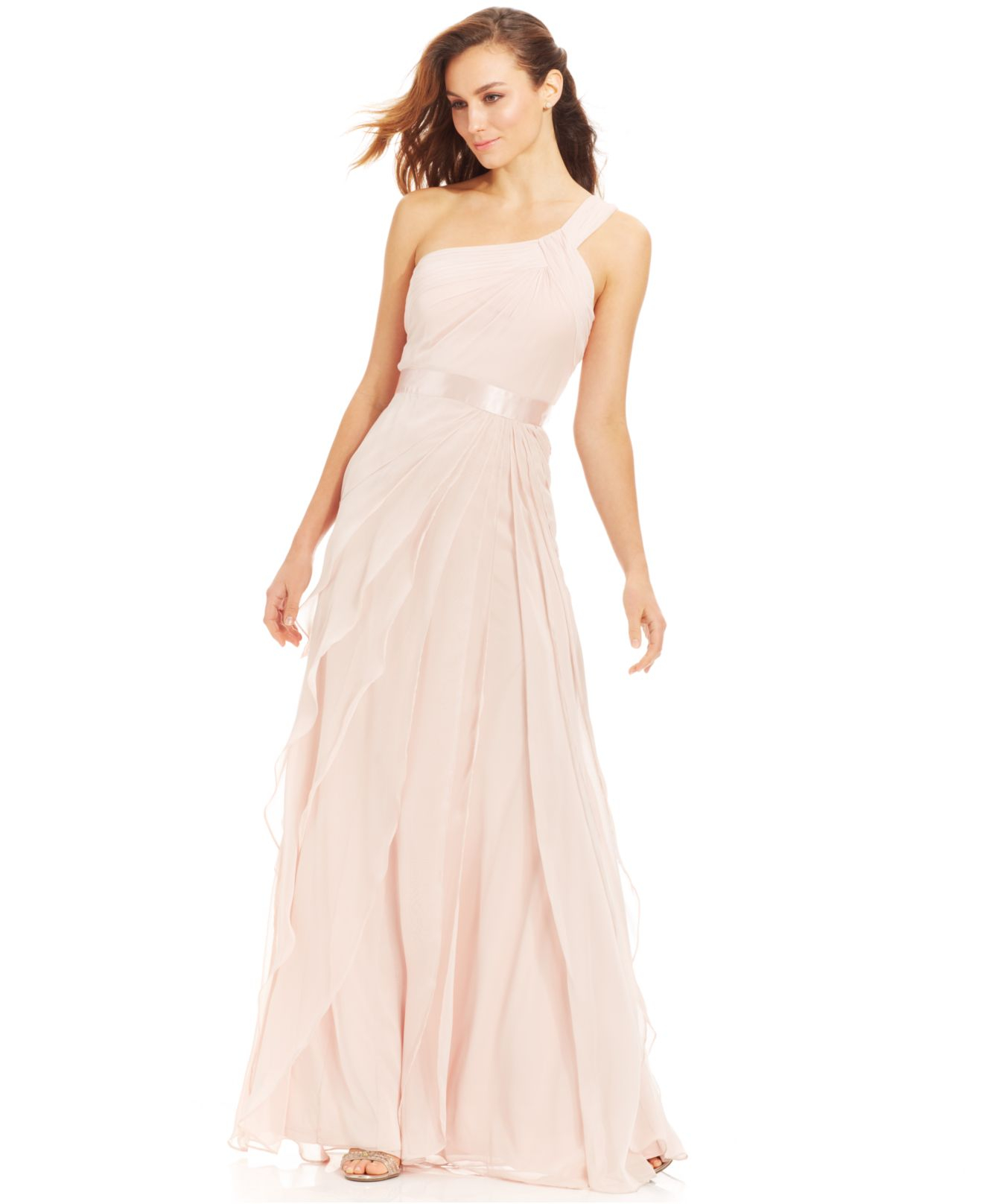 Lyst - Adrianna Papell One-shoulder Tiered Chiffon Gown in Natural