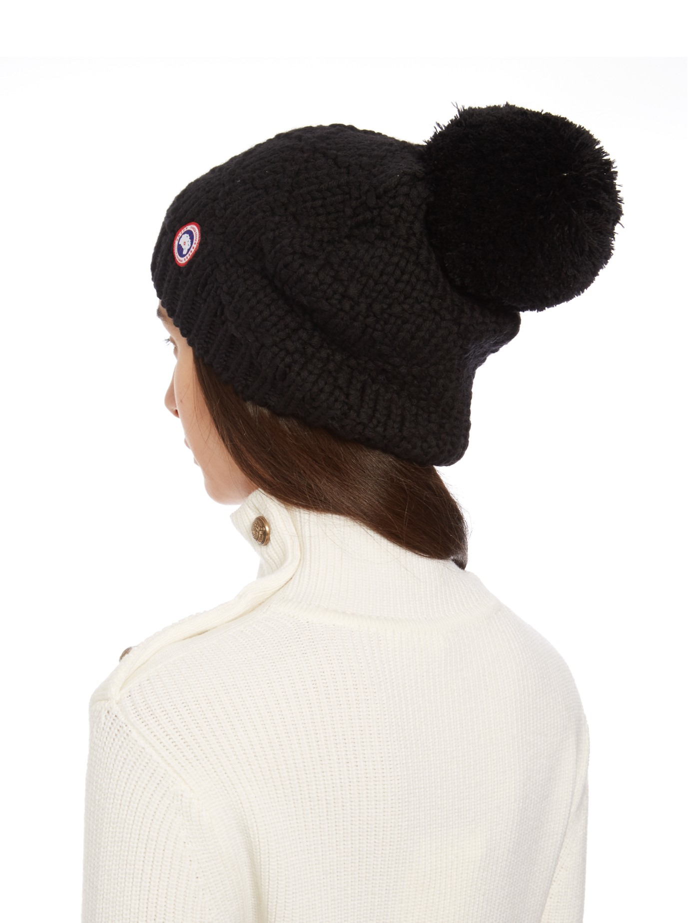 Canada Goose Pompom Cable Knit Beanie Hat in Black - Lyst 4f67915666fc