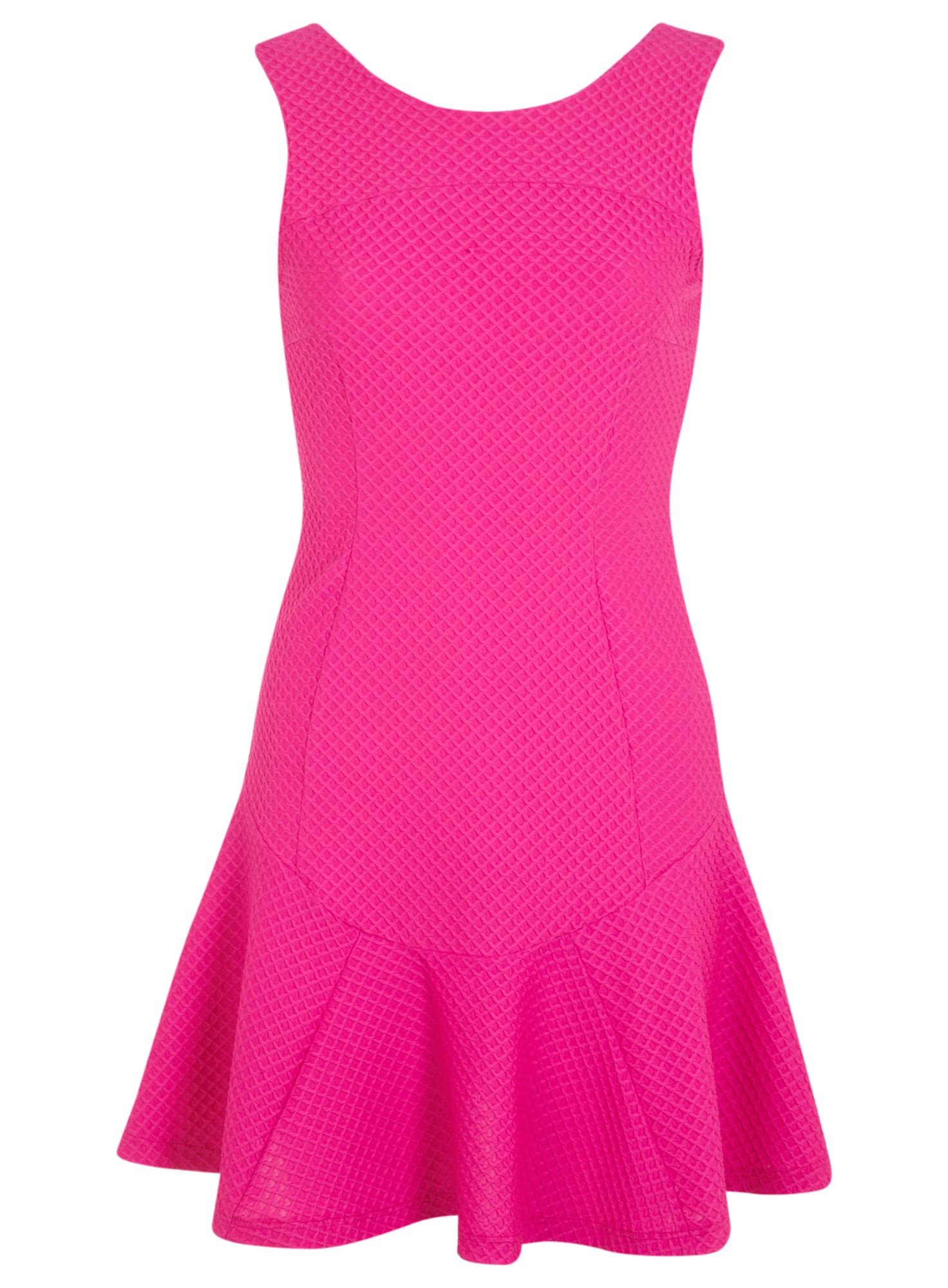 Lyst Miss Selfridge Pink Texture Trumpet Hem Dress In Pink