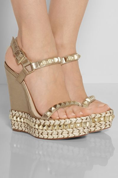 christian louboutin cataclou studded wedge sandals | Natural ...