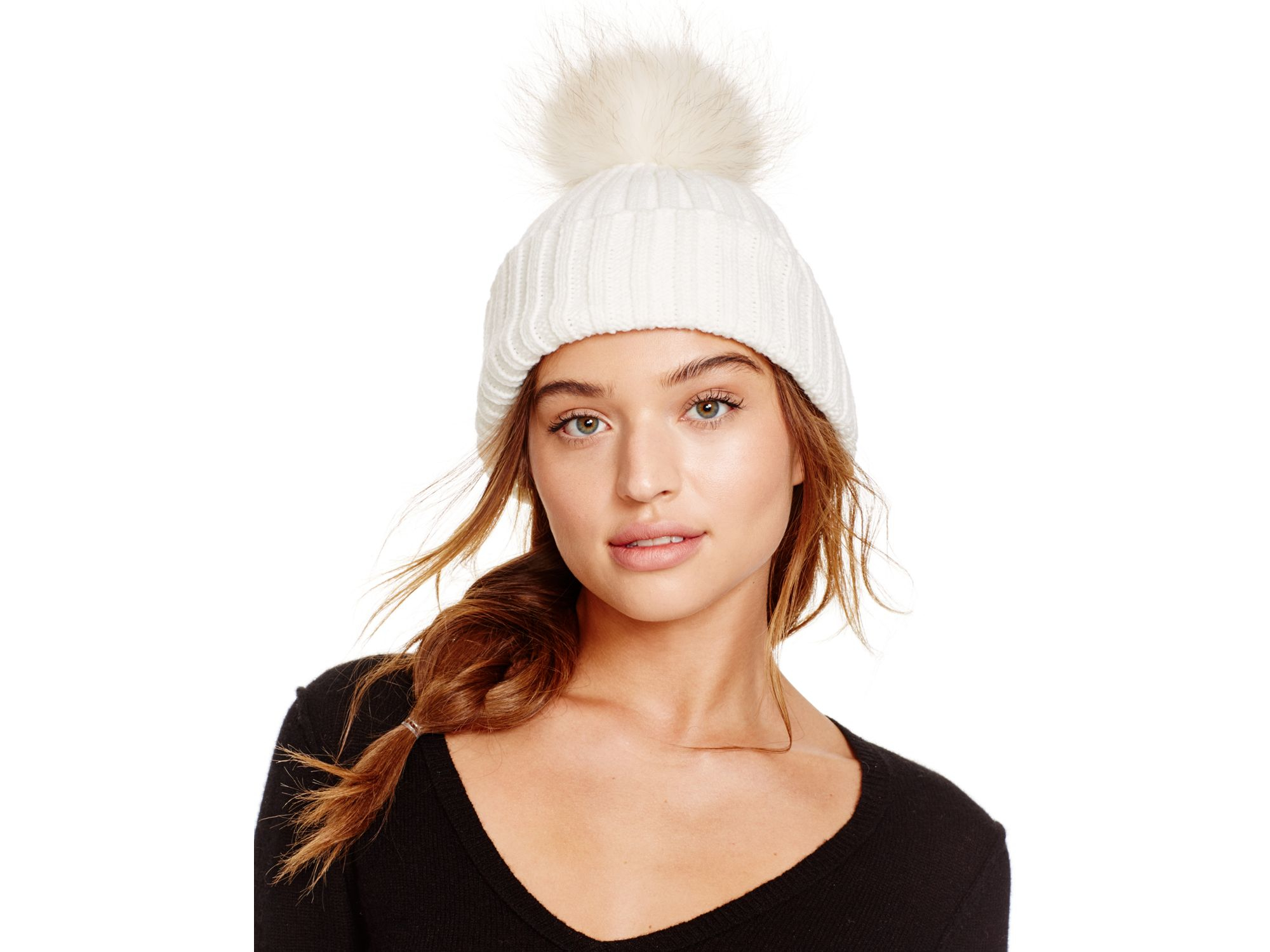 Lyst - Meteo by Yves Salomon Beanie Hat With Fur Bobble in White 457001af20b0