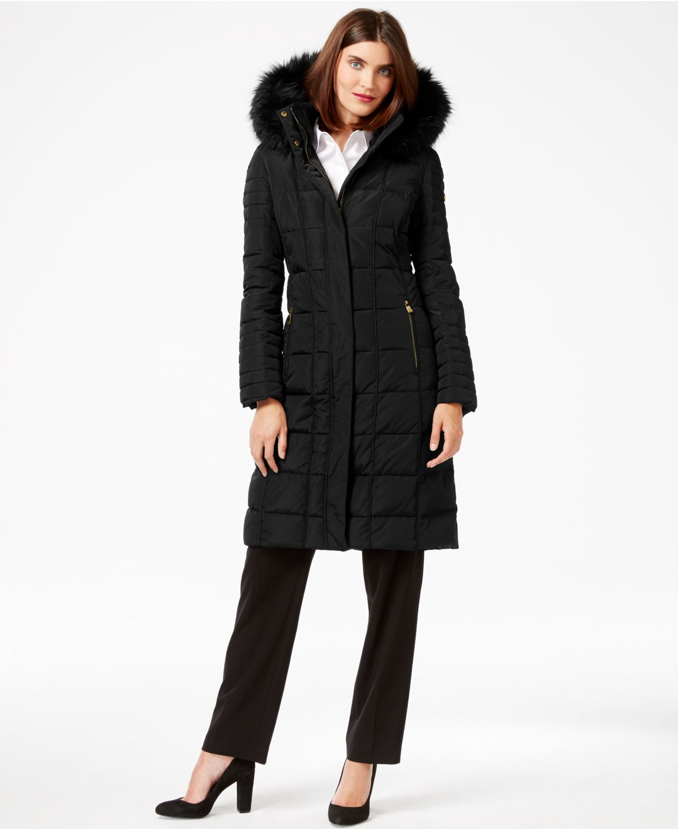 Calvin klein Faux-fur-trim Knee-length Down Coat in Black | Lyst