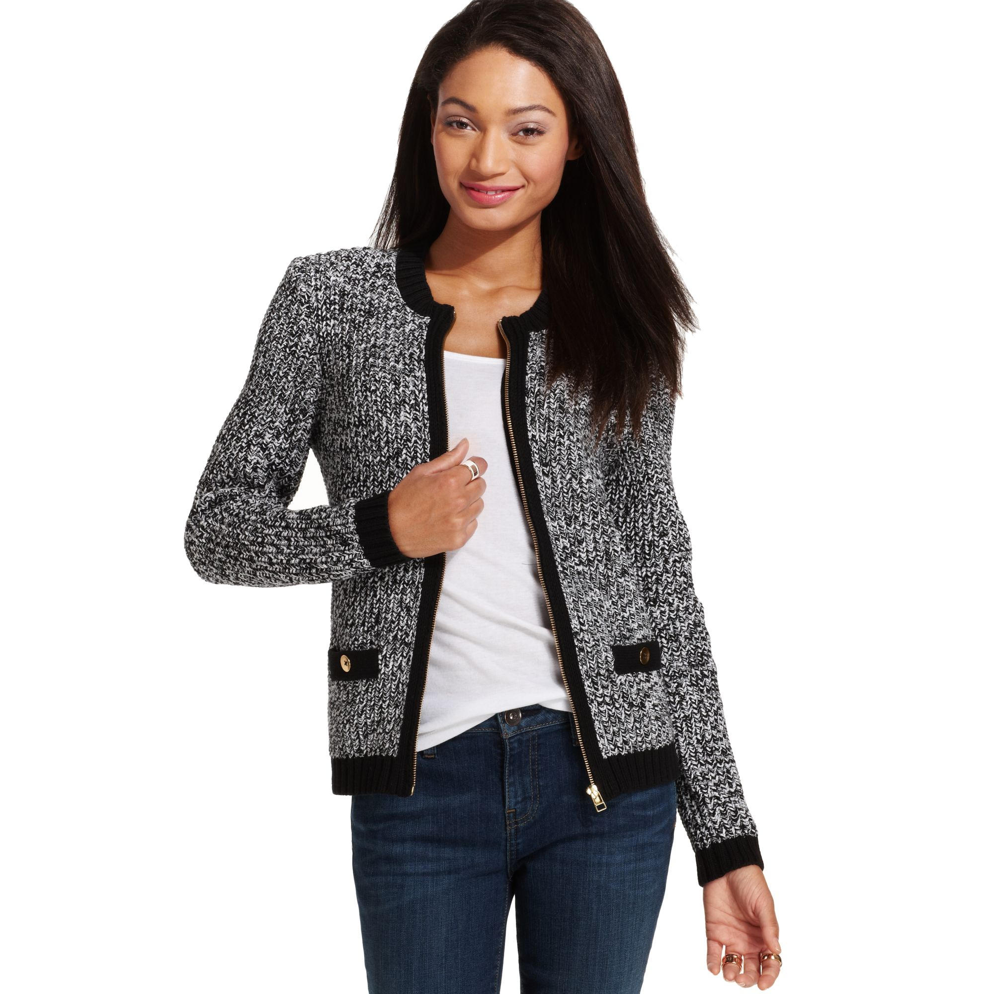 Tommy hilfiger Marled Zipup Cardigan Sweater in Black | Lyst