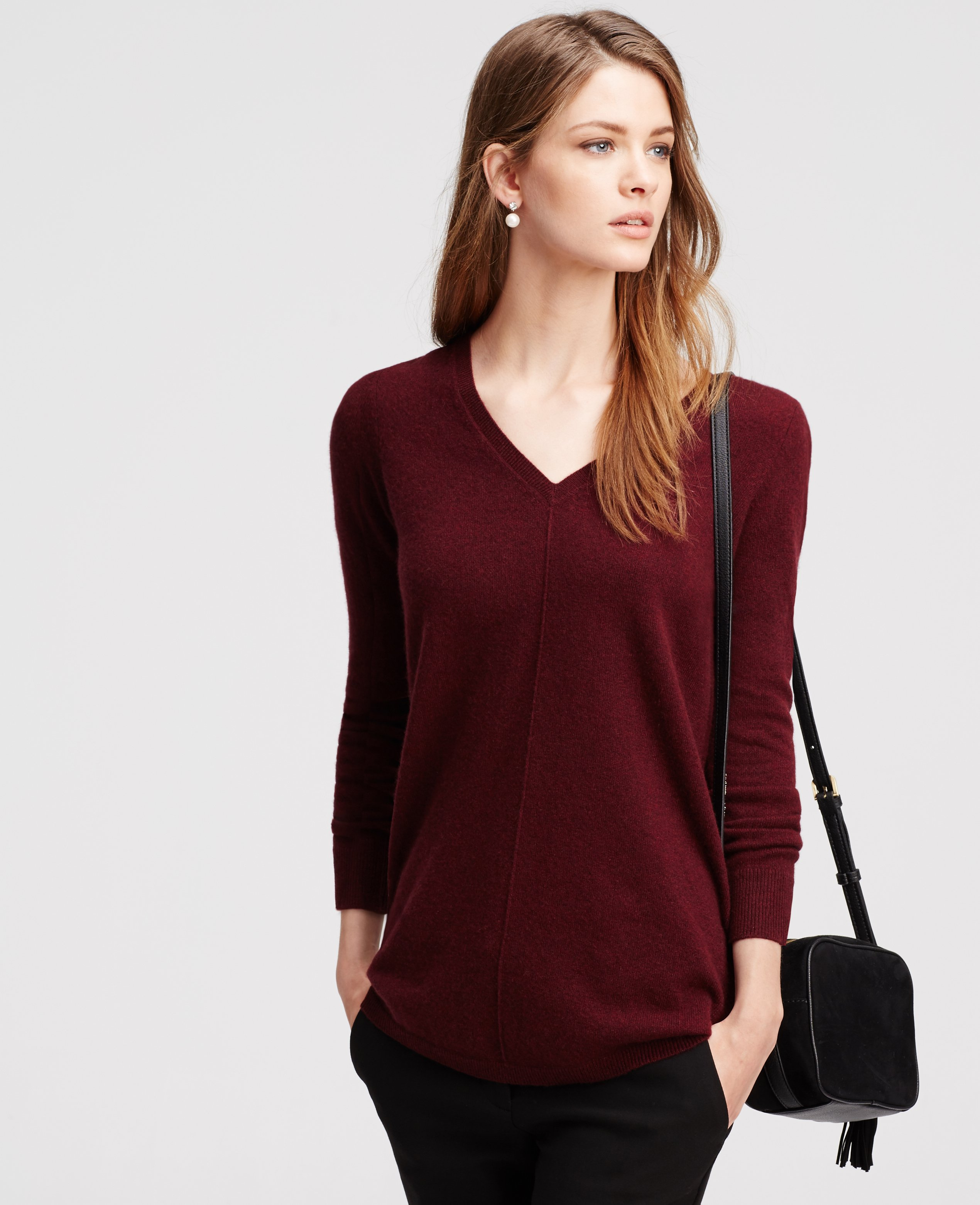 Ann taylor Petite Double V Cashmere Sweater in Red | Lyst