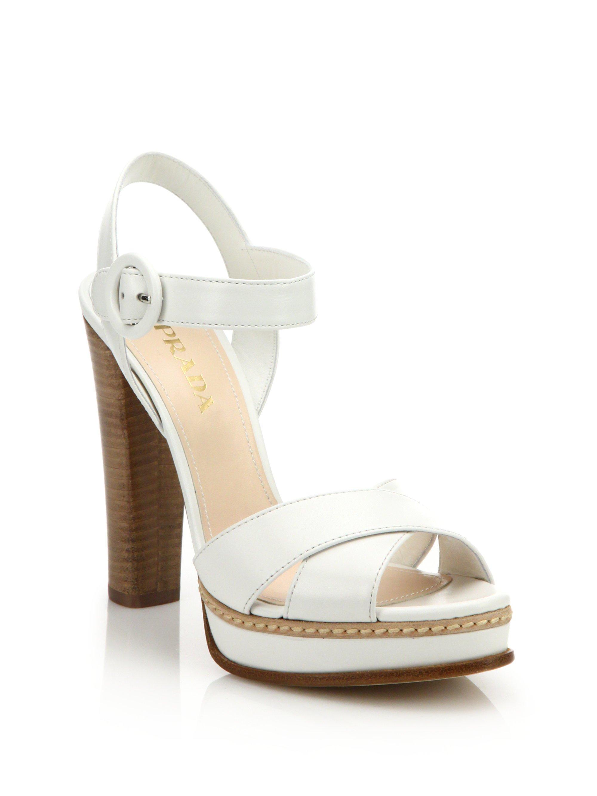 Prada Stacked Heel Leather Platform Sandals In White Lyst