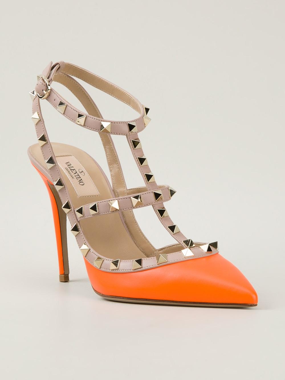 lyst valentino rockstud heeled pumps in orange. Black Bedroom Furniture Sets. Home Design Ideas
