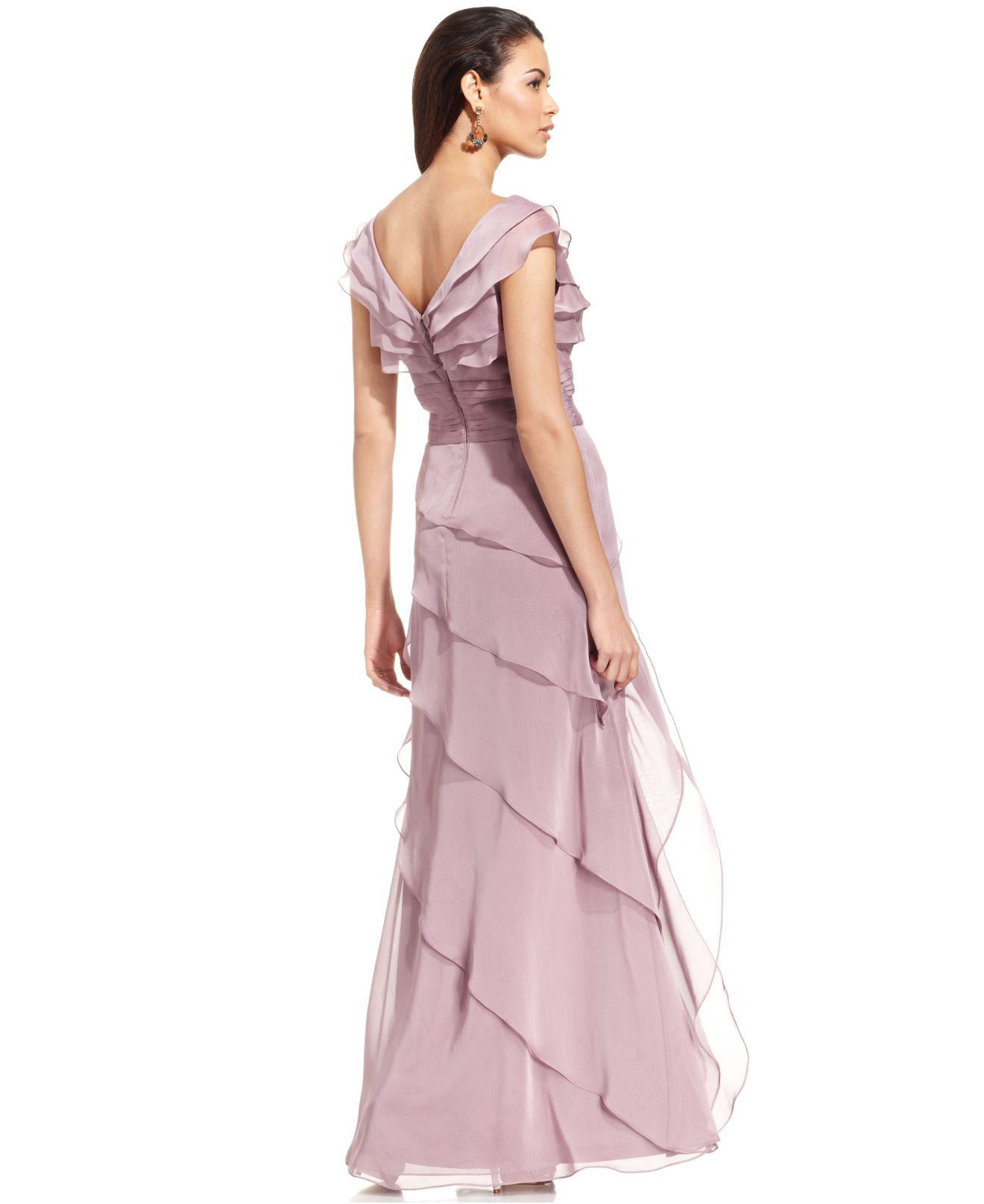 Lyst - Adrianna Papell Tiered Evening Dress in Purple