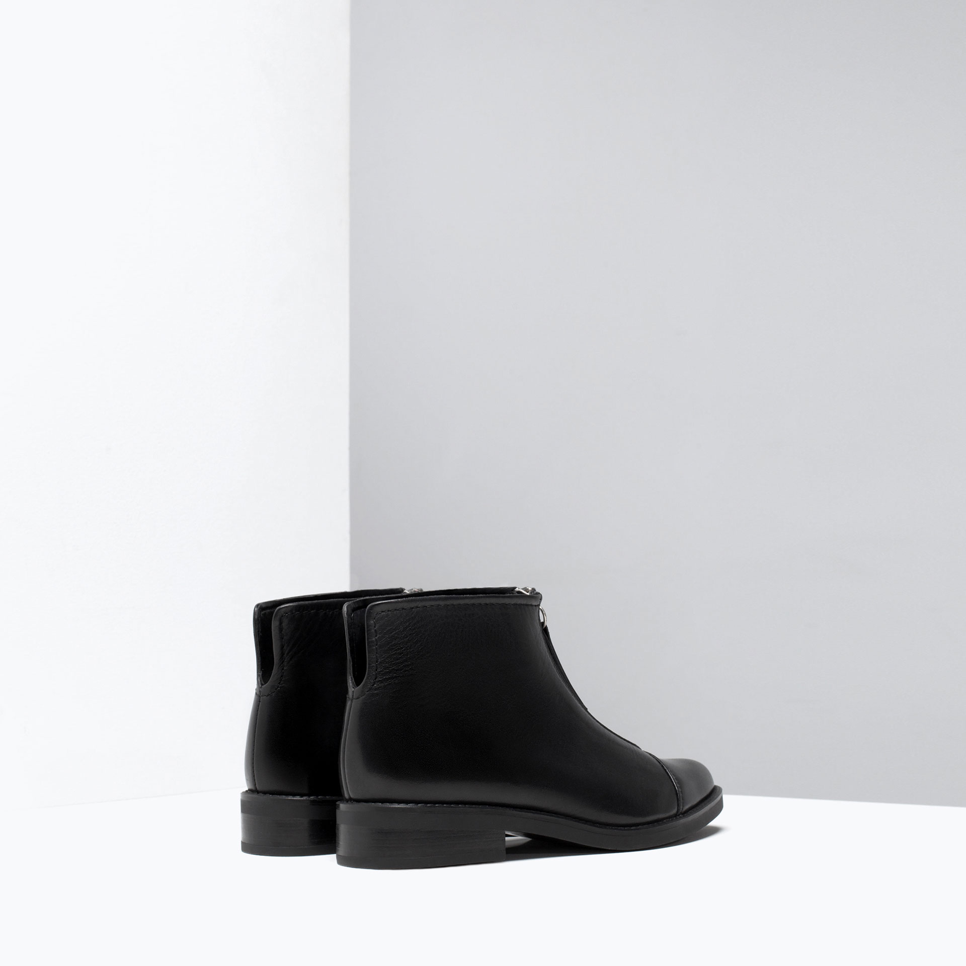 zara zipped leather ankle boots zipped leather ankle boots