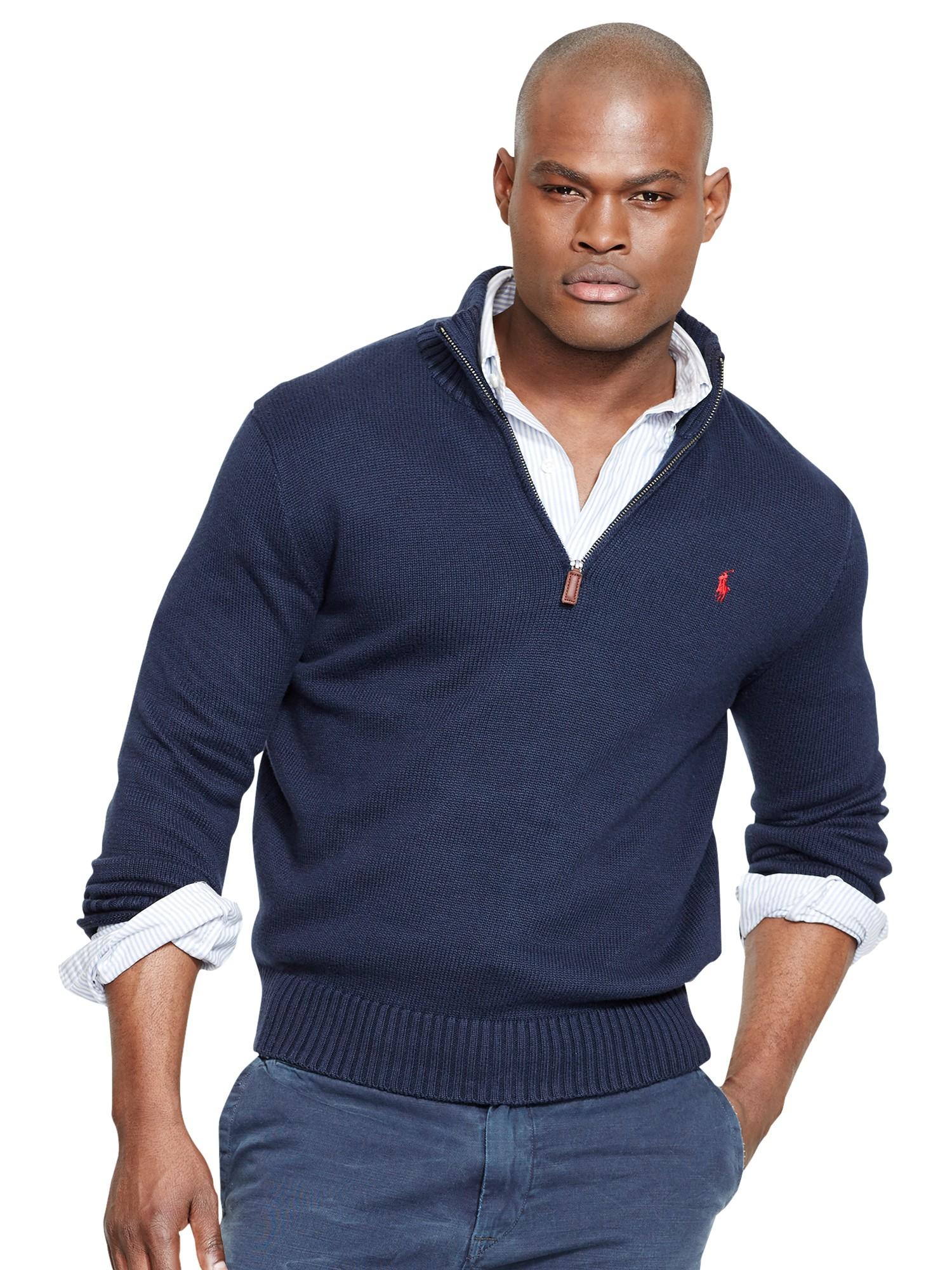 Ralph Lauren Fashion Show At New York: Polo Ralph Lauren Half Zip Cotton Jumper In Blue For Men