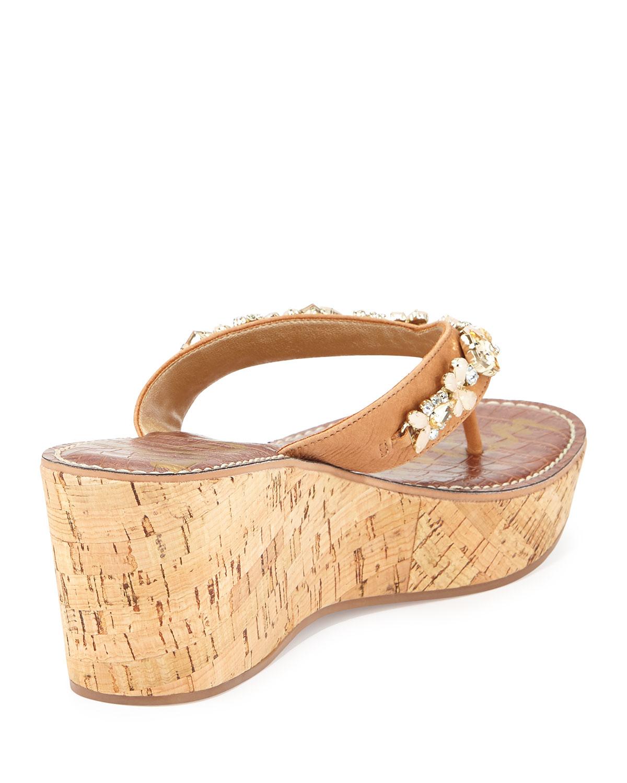 sam edelman randi jeweled wedge sandal in lyst