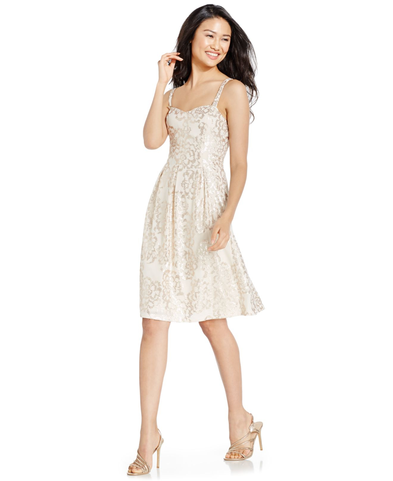 Nine west Sequined Sweetheart Dress in Pink | Lyst