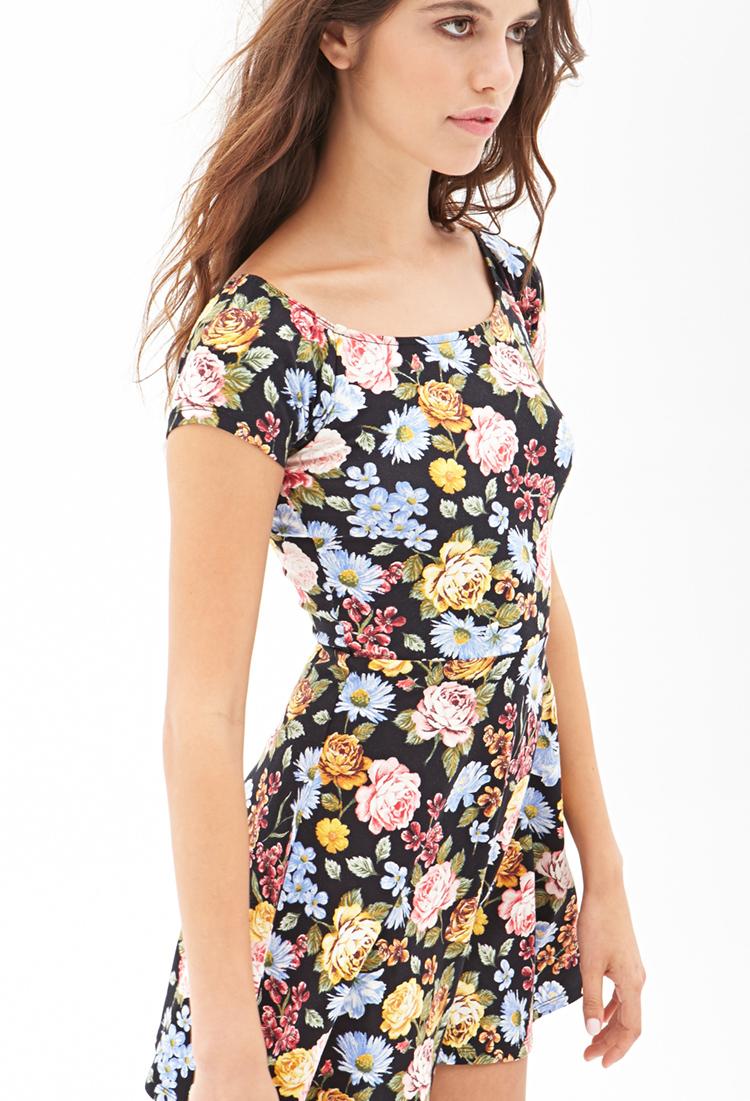 Forever 21 Floral Print Skater Dress | Lyst