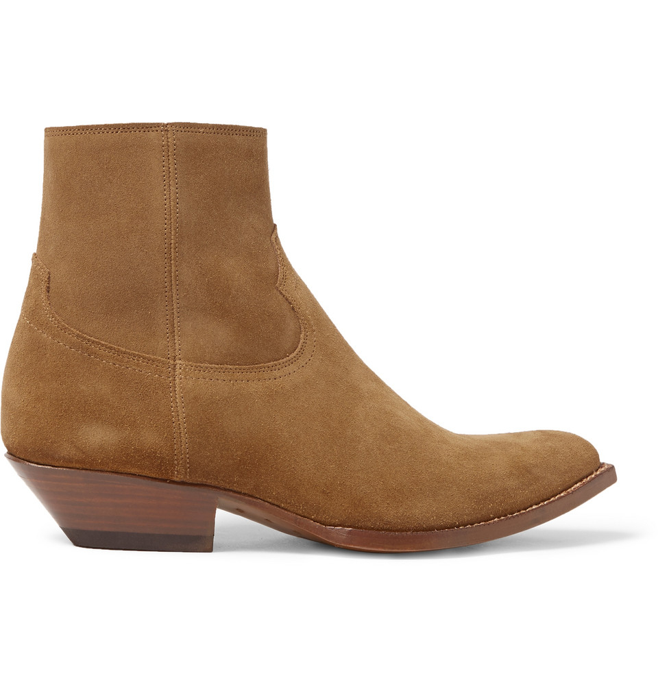 laurent suede cowboy boots in brown for lyst