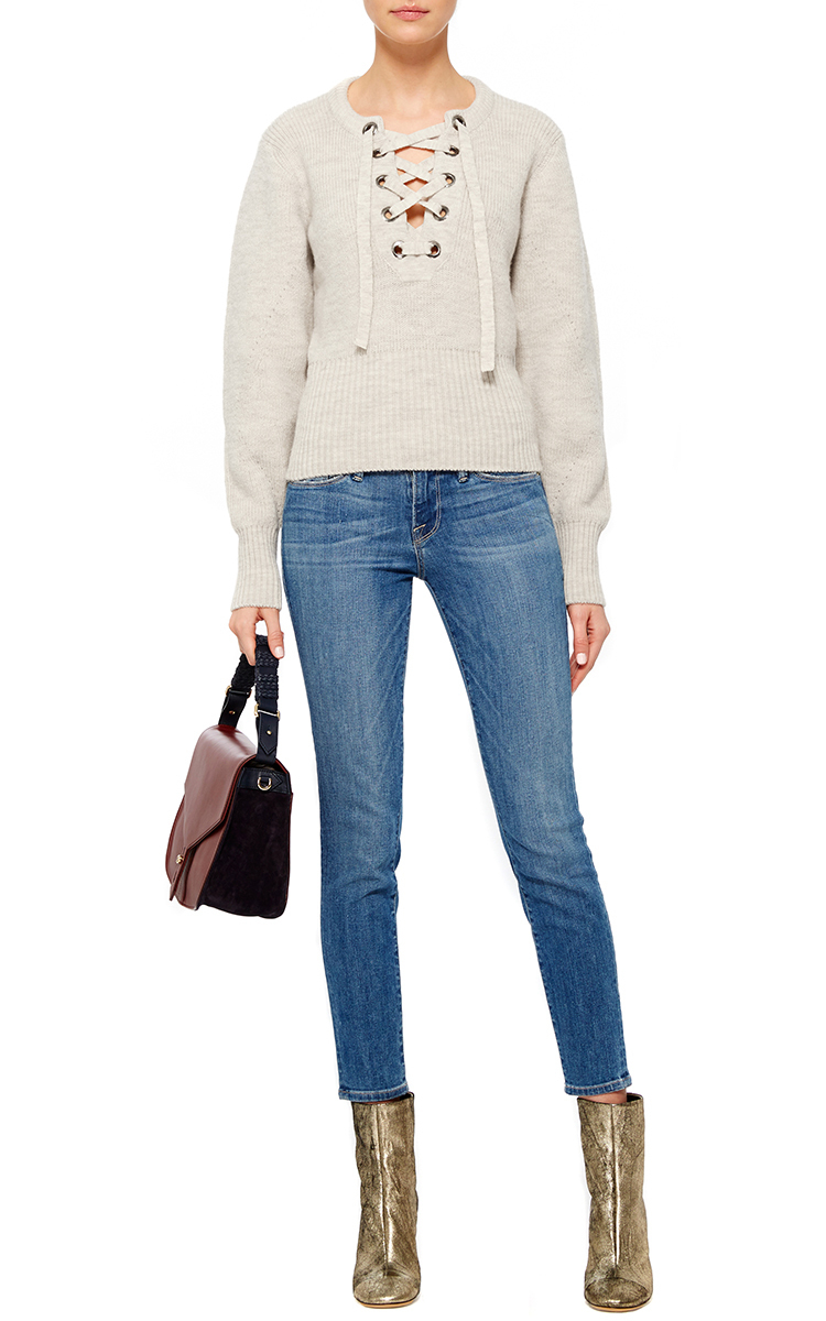 92f5977d76 Lyst - Isabel Marant Organic Wool Lace Up Front Charley Sweater in Brown