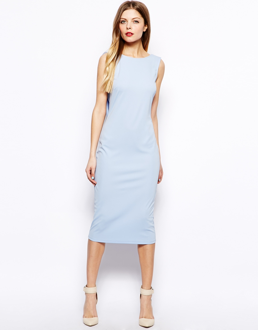 Lyst Asos Drape Back Midi Dress In Blue