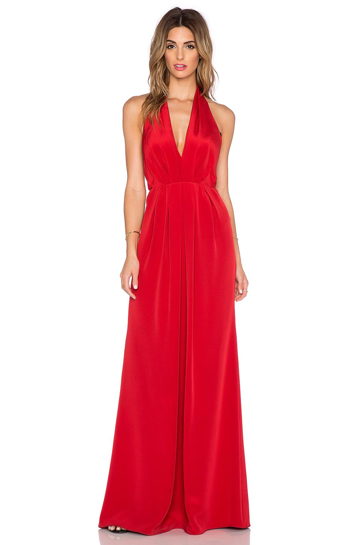 Jill Jill Stuart Deep V Halter Maxi Dress In Red Lyst