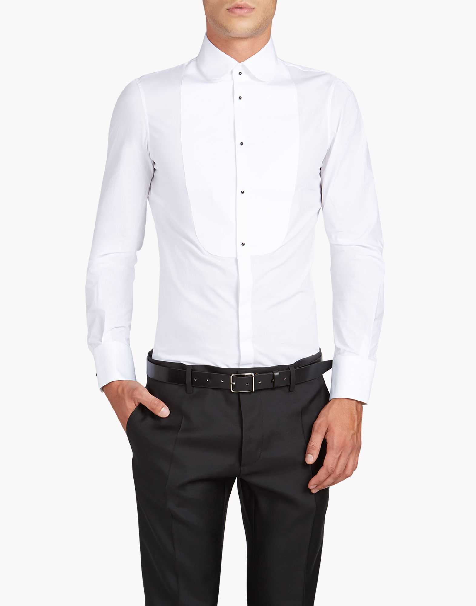 Dsquared round collar slim shirt in white for men lyst for Round collar shirt men