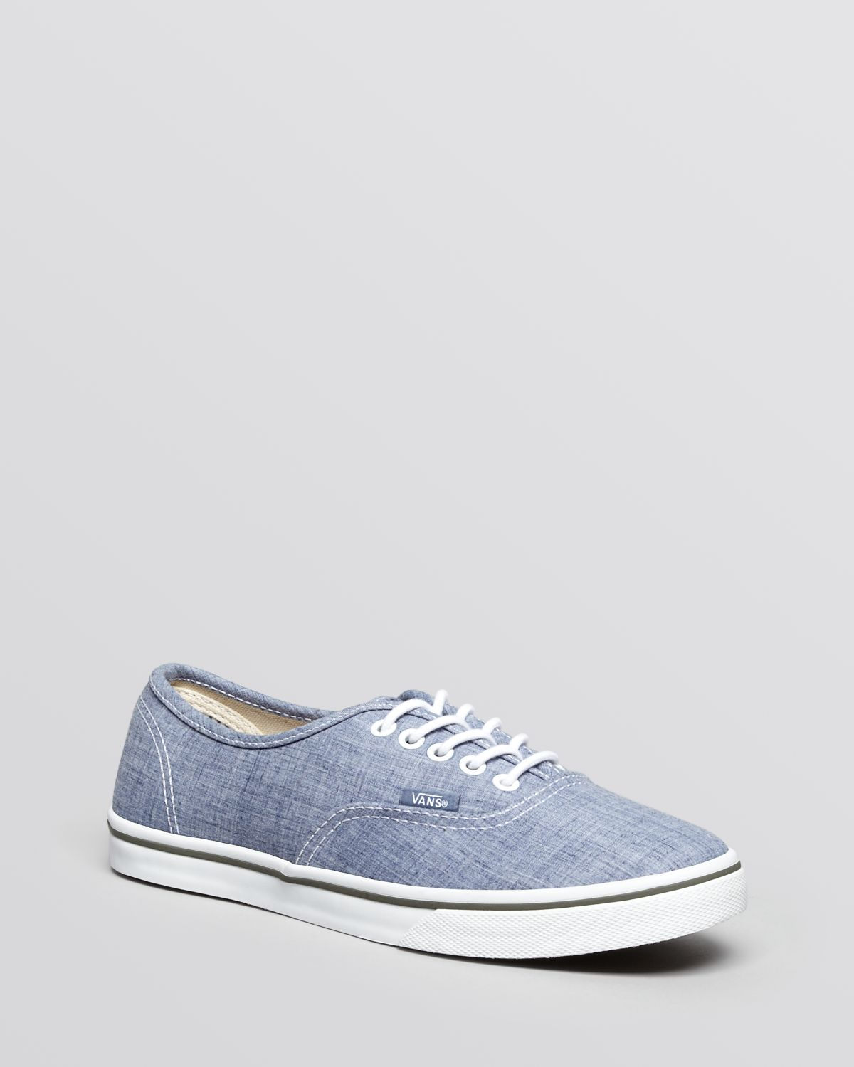 vans flat lace up sneakers authentic lo pro chambray in. Black Bedroom Furniture Sets. Home Design Ideas