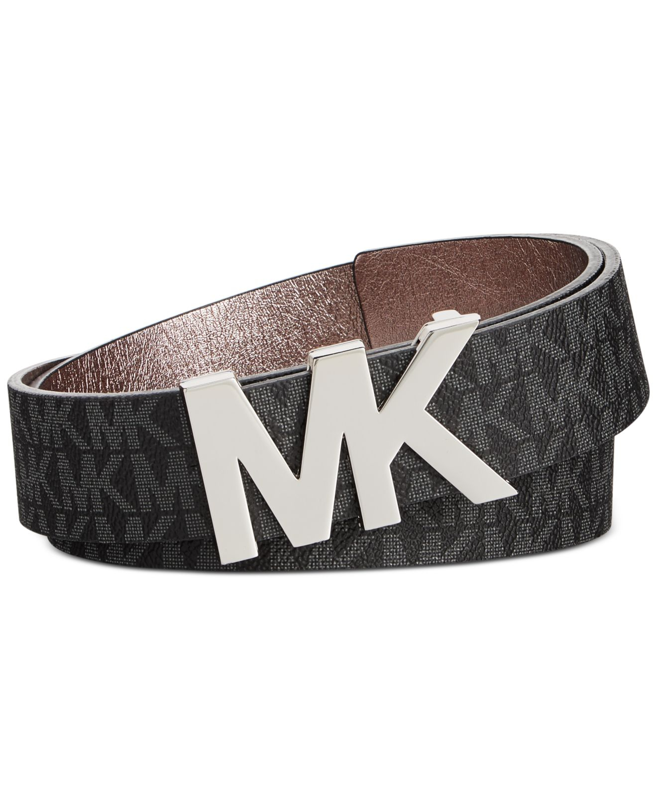 77b00e912ba62 Lyst - Michael Kors Michael Signature Belt With Mk Plaque in Brown