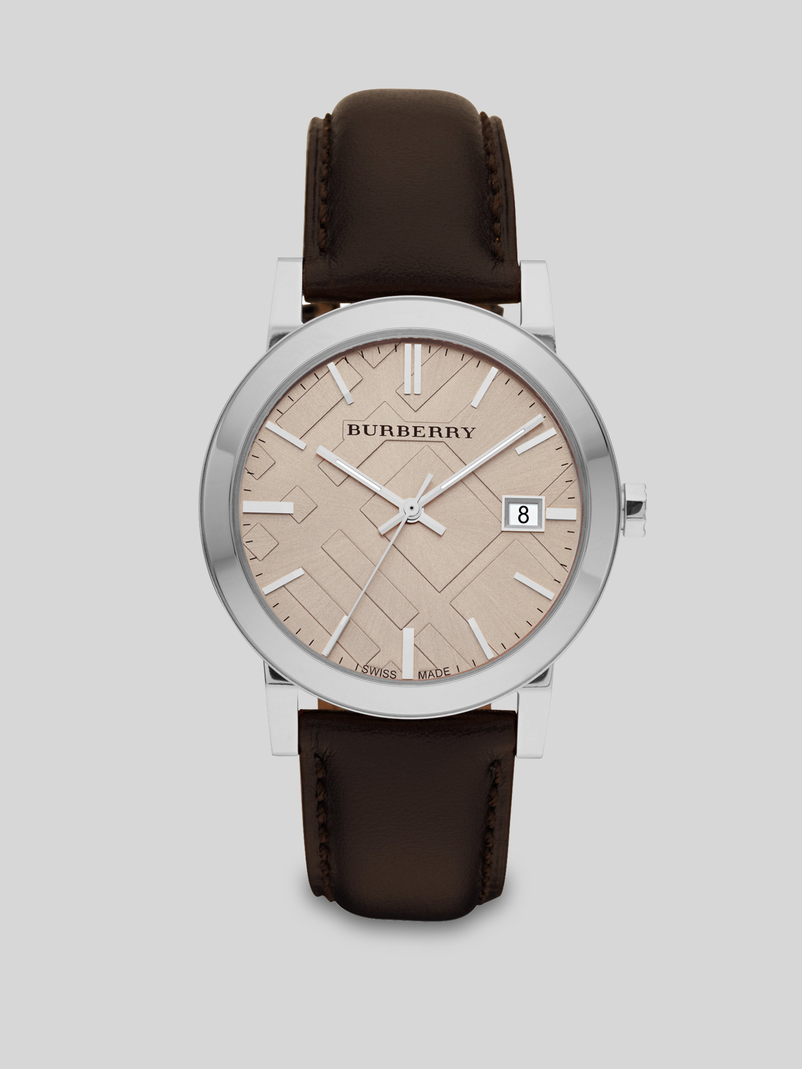 Burberry classic leather watch in brown lyst for Burberry watches