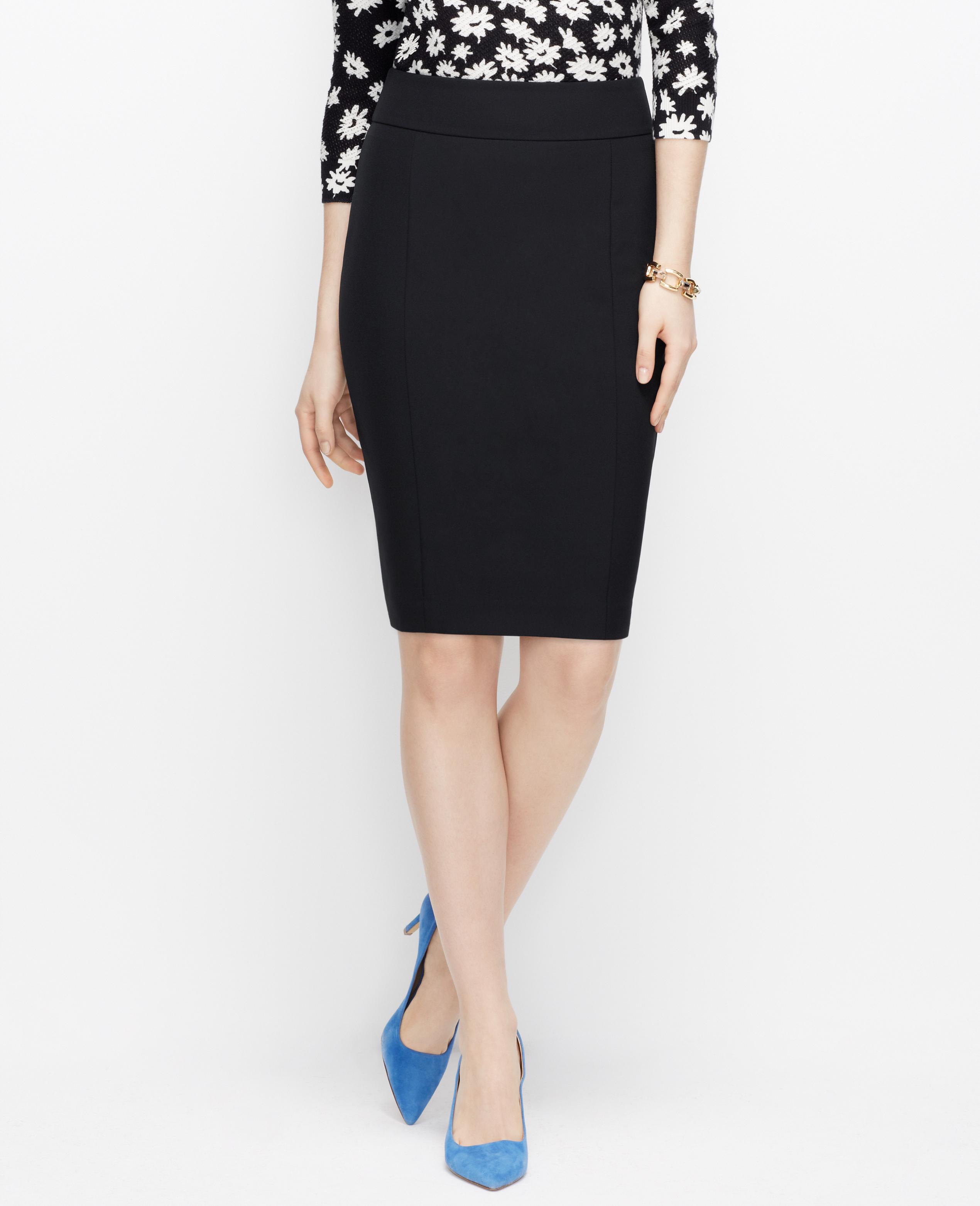 Ann taylor Curvy Sleek Stretch Pencil Skirt in Black   Lyst